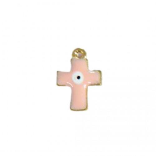 Ασημένιος Σταυρός Μαρτυρικό με Σμάλτο Ροζ και Ματάκι 16x20mm