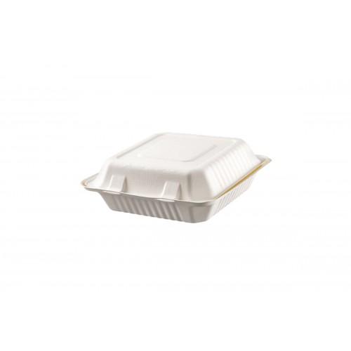 Σκεύος Φαγητού από Ζαχαροκάλαμο με Ενσωματωμένο Καπάκι 23Χ23cm