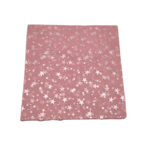 Τούλι Γαλλικό Ροζ Με Χρυσά Αστέρια 29x29cm Πακ 100τμχ