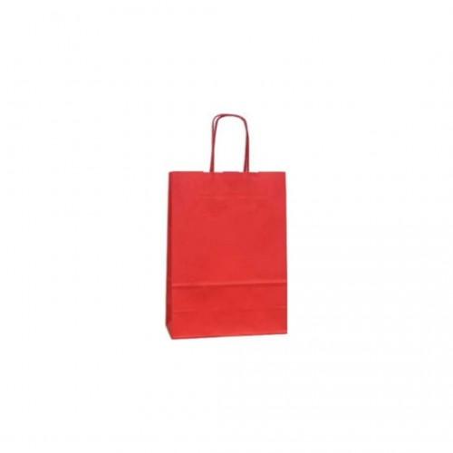 Τσάντα Χάρτινη με Στριφτή Λαβή Κόκκινη 20Χ18Χ8cm
