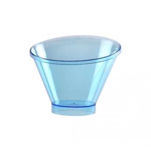 Πλαστικό Σκεύος Ασύμμετρο Σιέλ 130ml με Καπάκι Σετ 30τμχ