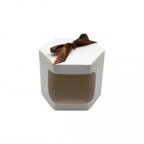 Κουτί Χάρτινο Εξάγωνο Με Παράθυρο Λευκό 10.5x10.5x10cm