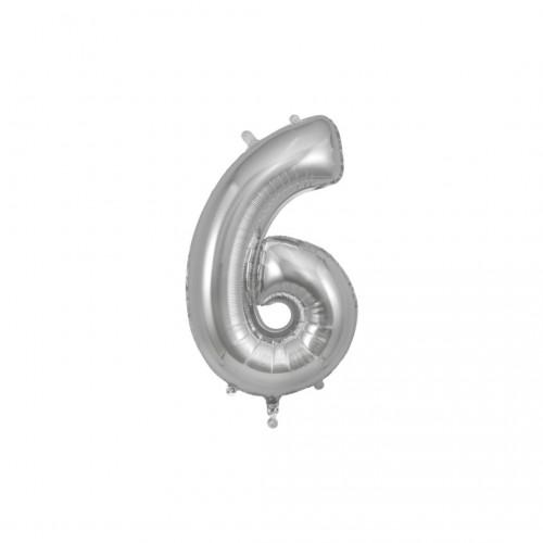 Μπαλόνι Αριθμός Ασημί Νο6 10cm