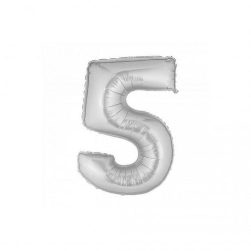 Μπαλόνι Αριθμός Ασημί Νο5 10cm