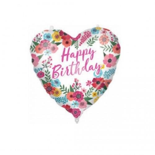 Μπαλόνι Foil Heart Shaped Happy Birthday Floral 46cm