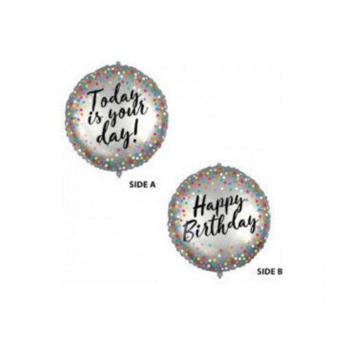 Μπαλόνι Foil Happy Birthday Διπλής Όψης 46cm