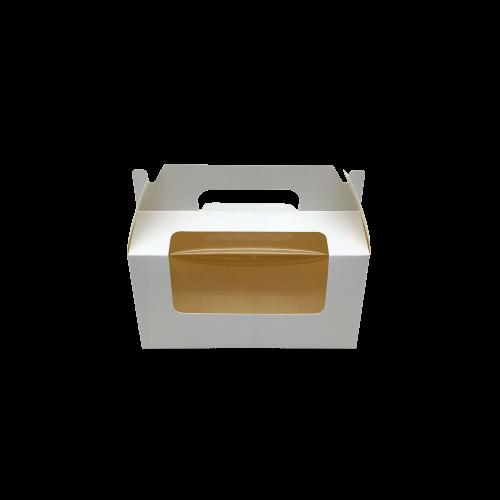 Κουτί Χάρτινο Με Λαβή & Παράθυρο Λευκό 16.5x9.5x9cm