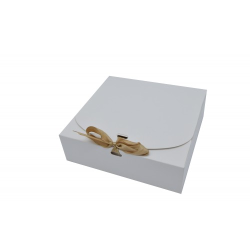 Κουτί Χάρτινο Λευκό με Χρυσή Κορδέλα 16.5Χ16.5Χ5cm