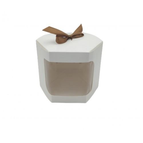 Κουτί Χάρτινο Εξάγωνο Με Παράθυρο Λευκό 14x14x13cm