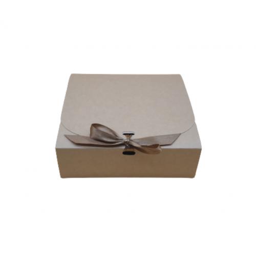 Κουτί Χάρτινο Κραφτ με Μπρονζέ Κορδέλα 16.5Χ16.5Χ5cm