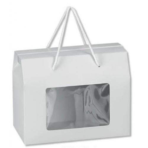 Κουτί Χάρτινο Λευκό με Παραθυράκι και Κορδόνι 20x11x15.5cm