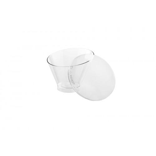 Πλαστικό Σκεύος Ασύμμετρο Διάφανο 130ml Πακ 30τμχ