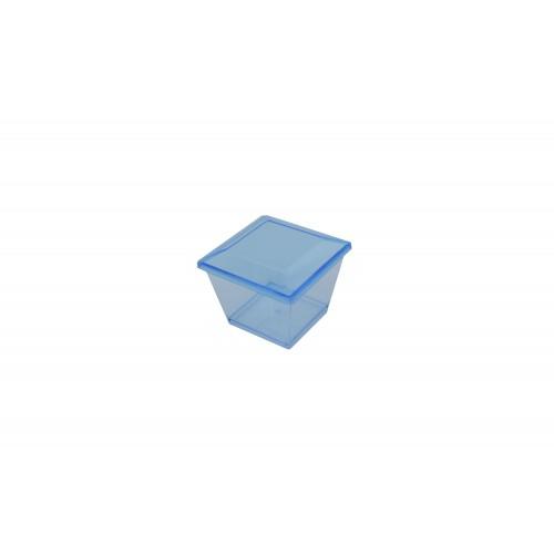 Πλαστικό Σκεύος Τετράγωνο Σιέλ 70ml με Καπάκι Σετ 100τμχ