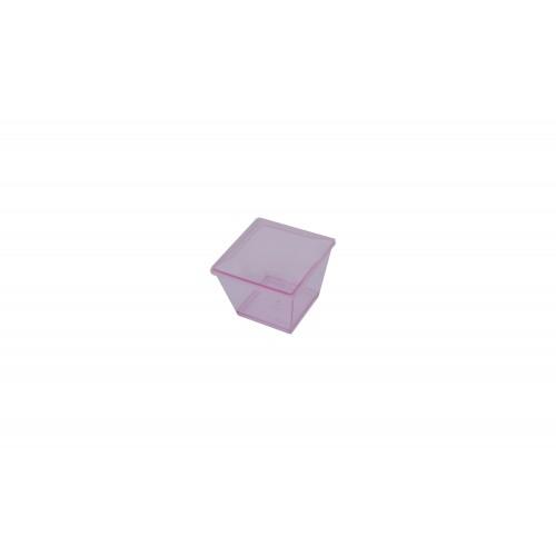 Πλαστικό Σκεύος Τετράγωνο Ροζ 70ml με Καπάκι Σετ 100τμχ