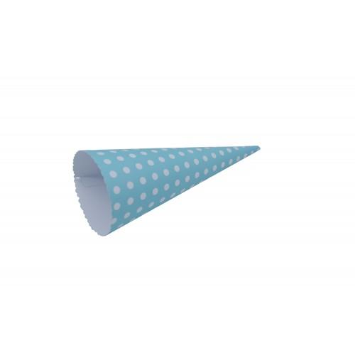 Χωνάκι Ζαχαρωτών Μπλε Λευκό Πουά 21Χ9cm