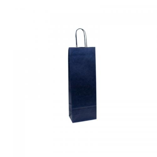 Τσάντα Χάρτινη με Στριφτή Λαβή Μπλε 39.5Χ15Χ8cm